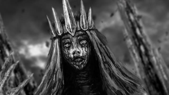 Dark queen with crown animation. Dark queen with crown pulls bony hand. Fantasy animation. Black and white background donna stock videos & royalty-free footage