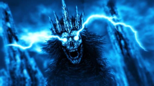Dark queen with crown. Blue color Dark queen with crown. Fantasy cartoon. Blue background color. donna stock videos & royalty-free footage