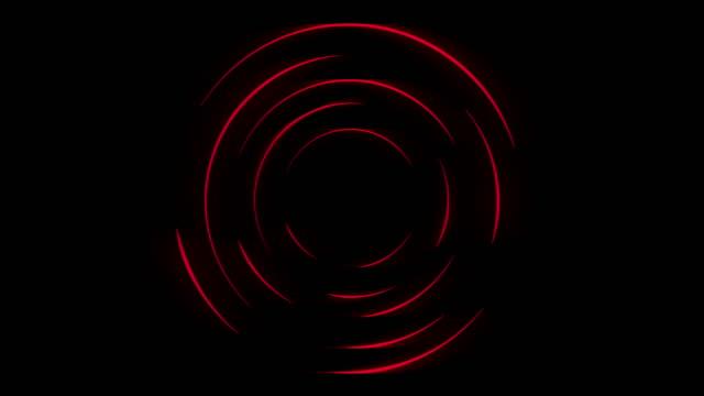 animazione video anelli di attesa caricamento neon rosso scuro - elemento del design video stock e b–roll