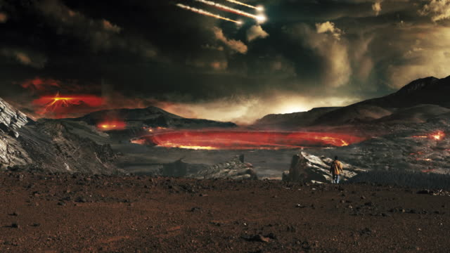 Dark scenery of devastated planet. Woman looking at volcanoes and meteors video