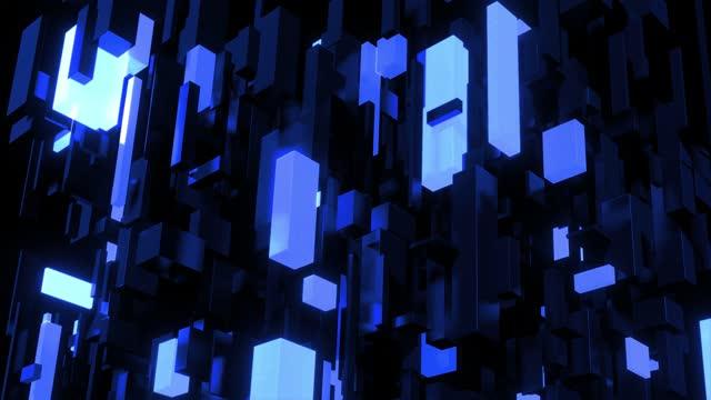 Dark science fiction blue background. Abstract looped 4k dark bg neon cubes light bulbs. Different sizes cubes network lighting blue neon light, like night city. Blockchain technology visualization video
