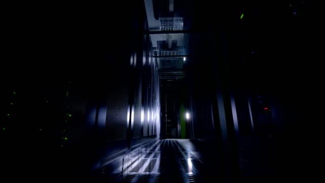 Dark server room. Network servers in a data center. Dark server room. Network servers in a data center. 4K. server room stock videos & royalty-free footage