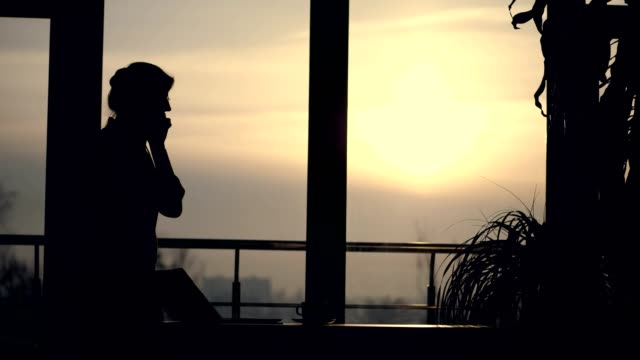 dark silhouette of Young business woman. she holds glasses in her hand, talks emotionally on mobile phone, gesticulates with hands, against background of large office window, at sunset, in rays of light. - vídeo