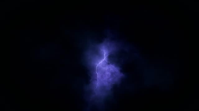 黑暗的天空與嚴重的雲彩和閃電在夜間時間失效。美麗無休止的雷電襲擊在電風暴。天氣概念。逼真的3d 動畫 - lightning 個影片檔及 b 捲影像