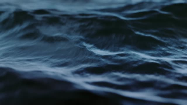 Dark slow motion ocean waves close up. Loop. 3D animation.