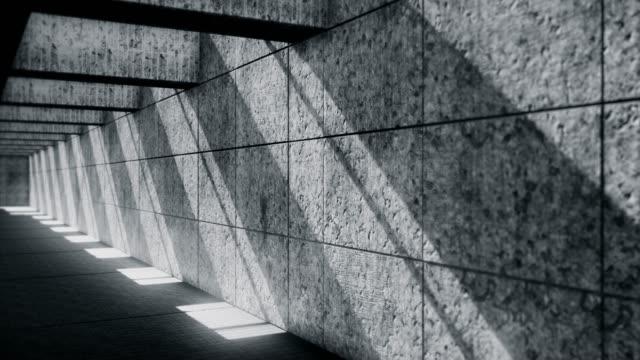 暗い地下トンネル-放棄された地下ガレージ - 都市 モノクロ点の映像素材/bロール