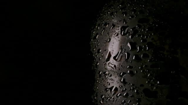 Dark wet bottle of beer
