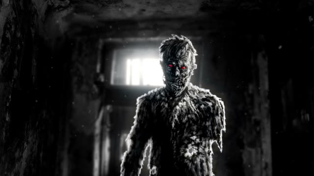 Zombie sombre aux yeux rouges dans la salle d'animation de la maison abandonnée. - Vidéo