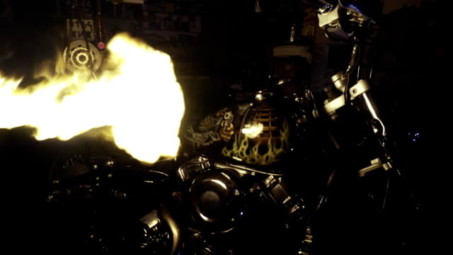 Darkness illuminates flame motorcycle with airbrushing video
