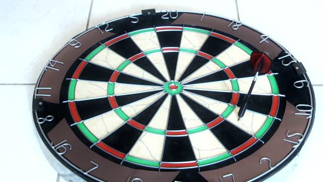 darts being thrown into dart board video