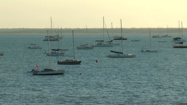 Darwin harbour 11 Yachts and boats in Darwin's Fannie Bay looking south from the East Point Reserve. Wide shot at dusk. heat haze stock videos & royalty-free footage