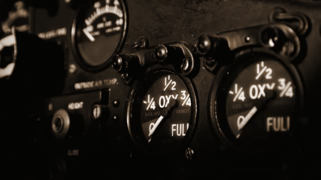 Dashboard Of An Old Airplane. Sepia Tone.