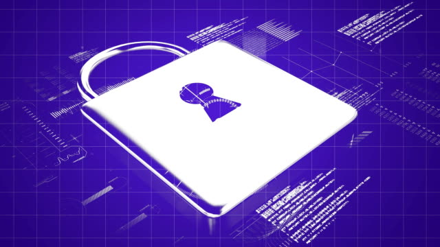 Data and padlock on purple background