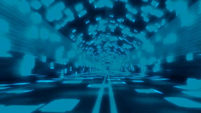 tunnel di dati binari blu/turchese seamless loop - adrenalina video stock e b–roll