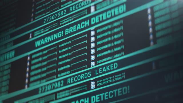 資料洩露、螢幕上的警告訊息、洩漏的記錄數量不斷增加 - 威脅 個影片檔及 b 捲影像