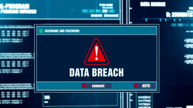 dataintrång varning meddelande genereras på digitala system security alert felmeddelande på datorskärmen efter att ange användarnamn och lösenord. it-brottslighet, datorn hacking koncept - hotelse bildbanksvideor och videomaterial från bakom kulisserna