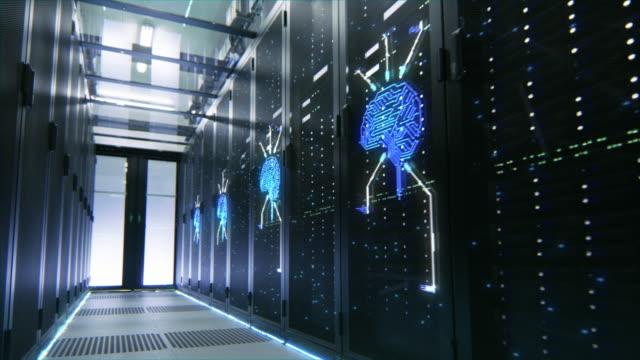 data center server rack aktivera med animerade neurala nätverk artificiell intelligens hjärntecken. animerat begrepp av visualization och digitalisering av internet informationsväg. rörlig kamera skott - server room bildbanksvideor och videomaterial från bakom kulisserna
