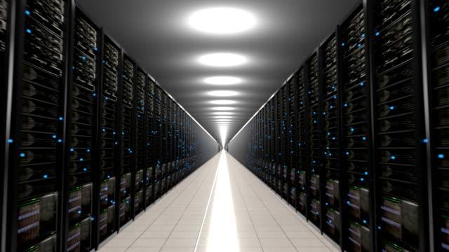 datacenter servrar oändliga korridoren loop centrum 4k - server room bildbanksvideor och videomaterial från bakom kulisserna