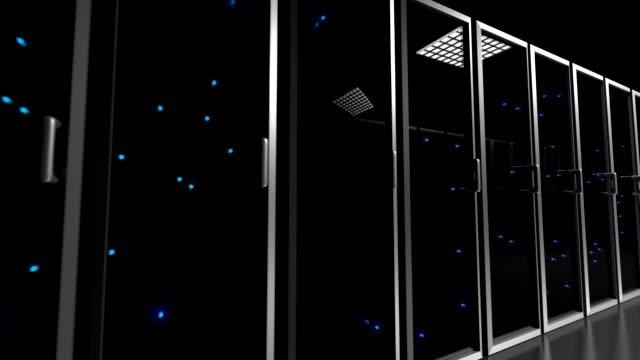 data center servrar glas fronted blinkande lampor tracking shot centrum 4k - server room bildbanksvideor och videomaterial från bakom kulisserna
