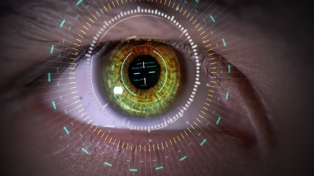Data Circle Hazel Eye Close Up Science Concept