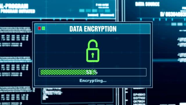 datakryptering förlopp varning meddelandedata protected alert på skärmen - kryptering bildbanksvideor och videomaterial från bakom kulisserna