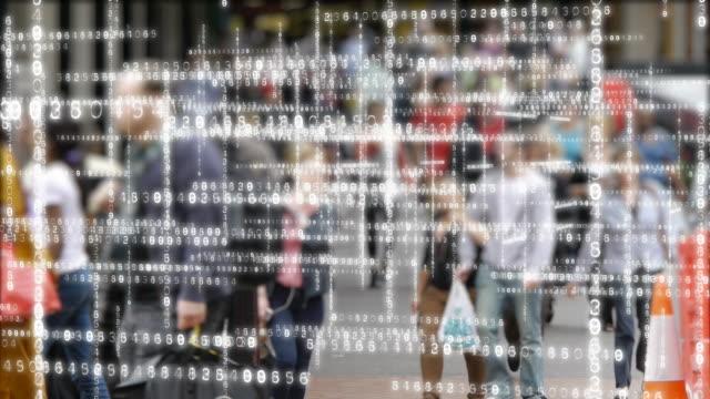 Data matrix and people. - vídeo