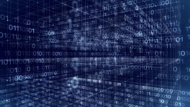 vídeos de stock e filmes b-roll de data stream blockchain network - bit código binário