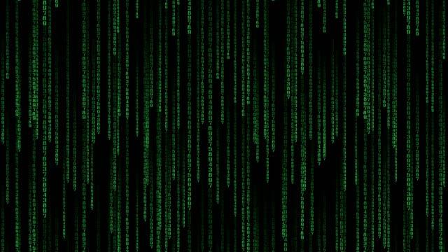 vídeos de stock e filmes b-roll de data stream matrix - vertically scrolling numbers. loop - bit código binário