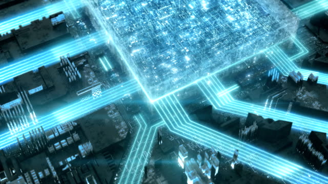 data travelling on a mother board. data travelling on a mother board. glowing digital processor - scheda a circuito video stock e b–roll