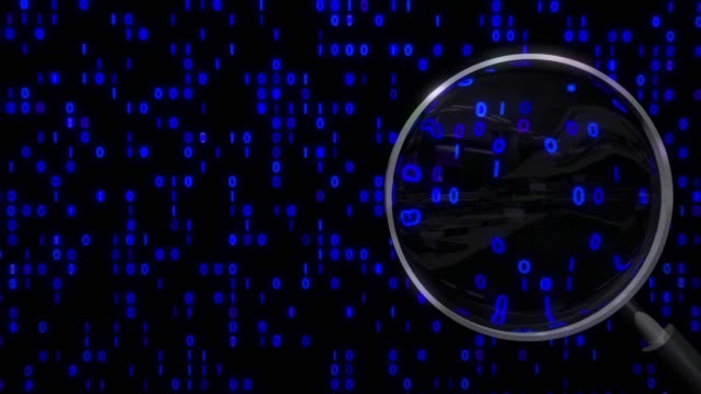 Data under magnifying glass binary spying spyglass Data under magnifying glass binary spying spyglass. magnifying glass stock videos & royalty-free footage