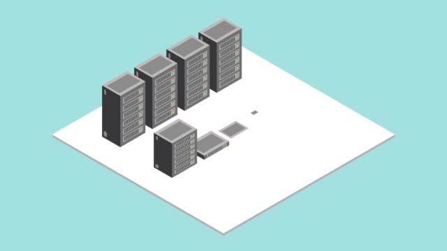 stockvideo's en b-roll-footage met datacenter server kamer. isometrische interieur met rijen van hardware server case kabinet motion graphic concept. - datacenter