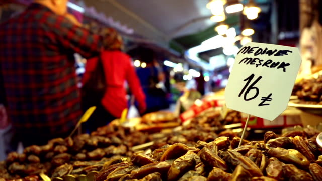 Date fruit stall on Turkish street market video