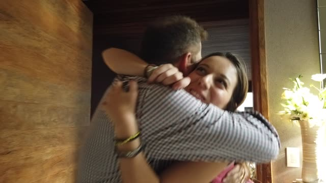 daughter coming back home from travel or school - reunion stock videos & royalty-free footage
