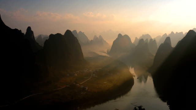 Dawn of the li river and hills video
