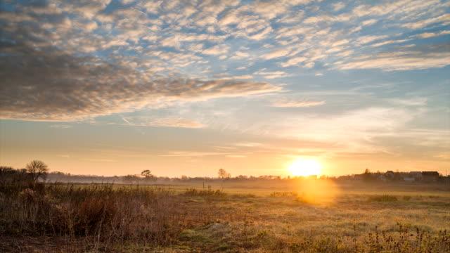 Dawn. Sunrise in the field. video