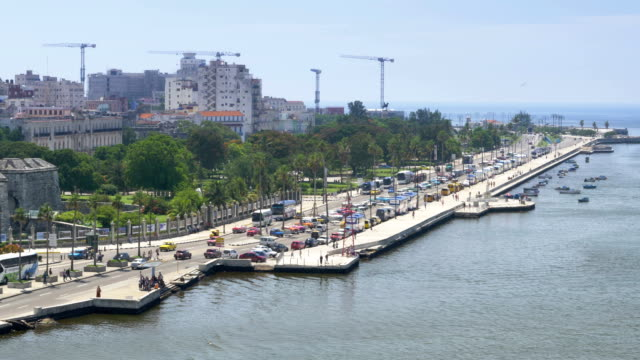 Day Aerial Establishing Shot of Shoreline of Havana Cuba video