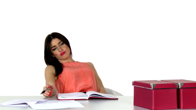 Day dreaming secretaty at work Day dreaming secretaty at work. White background. 20 29 years stock videos & royalty-free footage