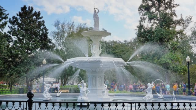Day Exterior Establishing Shot of Fountain at Forsyth Park video