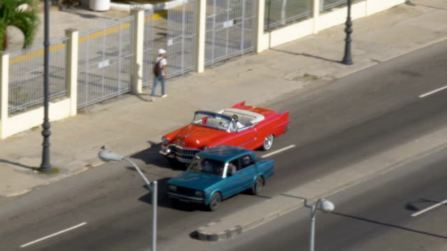 Day High Angle Aerial View of Classic Cars on Havana Streets video