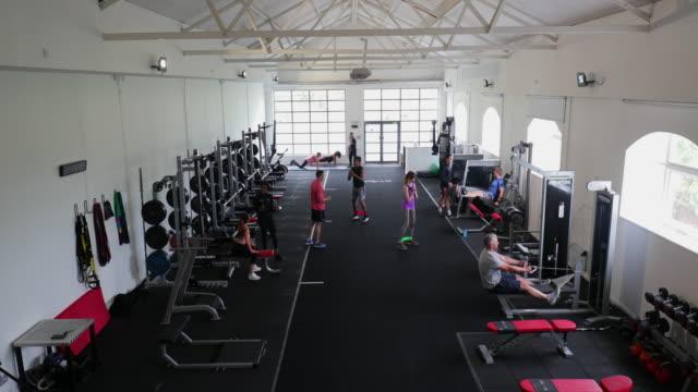 vídeos de stock e filmes b-roll de a day in the gym - aparelho de musculação