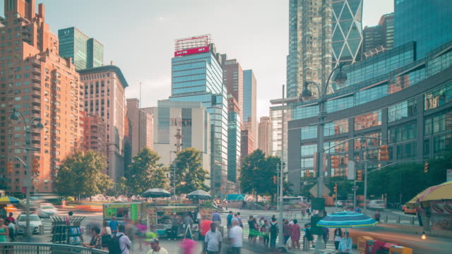 day light columbus circle traffic 4k time lapse from new york video