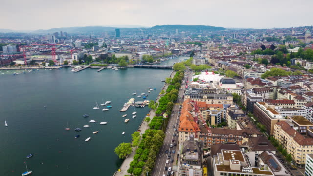day light zurich lakeside cityscape aerial panorama 4k time lapse switzerland