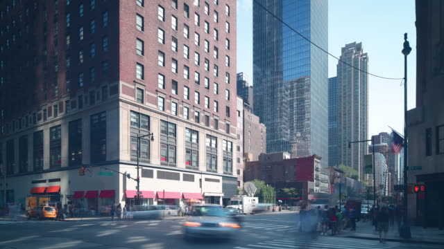 day manhattan crossroad traffic 4k time lapse from new york video