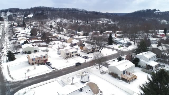 Day Overcast Winter Aerial View of Typical Pennsylvania Neighborhood video