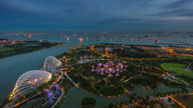 day till night panoramic roof top view 4k time lapse from singapore video