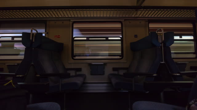 day time basel zurich train wagon interior road trip side window seats pov panorama 4k timelapse switzerland - vídeo