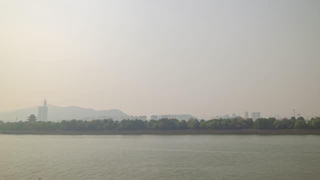 day time changsha city river traffic bay timelapse panorama 4k china