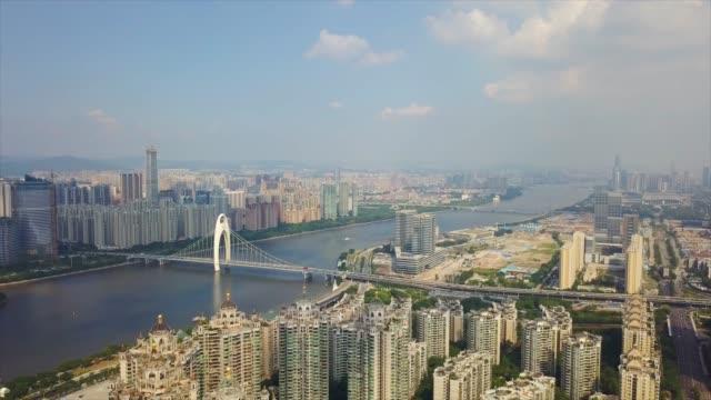日時間広州市交通花城橋珠江湾航空平面図 4 k 中国 - 中国 広州市点の映像素材/bロール