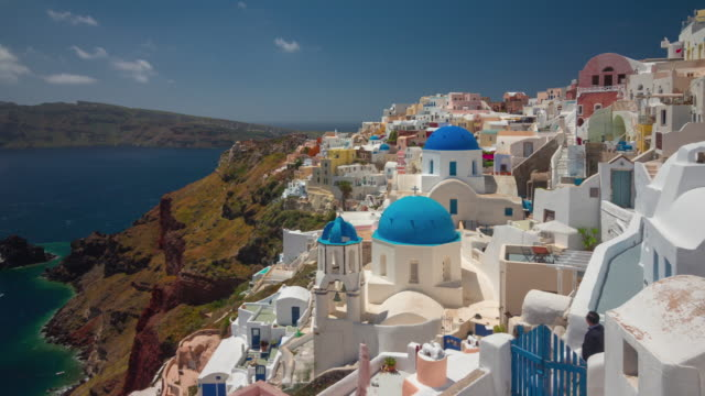 day time santorini island famous oia town hill bay panorama 4k time lapse greece day time santorini island famous oia town hill bay panorama 4k timelapse greece greek islands stock videos & royalty-free footage