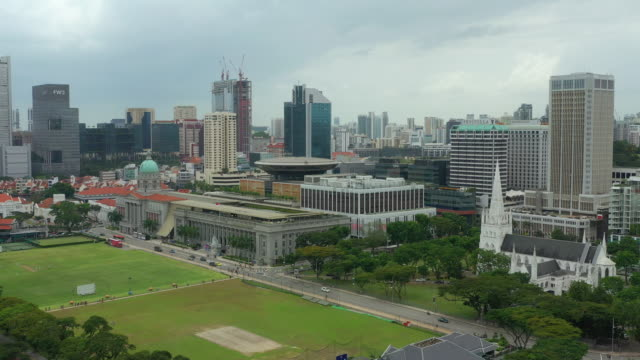 day time singapore city center famous church and gallery square field aerial panorama 4k - supreme court filmów i materiałów b-roll
